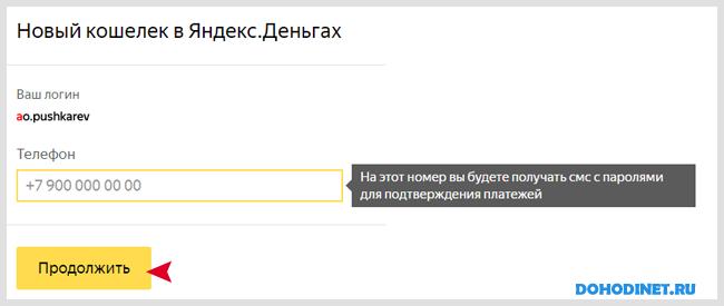 Создание кошелька Яндекс Деньги