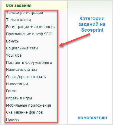 Категории заданий на сайте seosprint