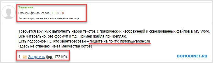 Пример объявления по ручному набору текста на сайте fl.ru