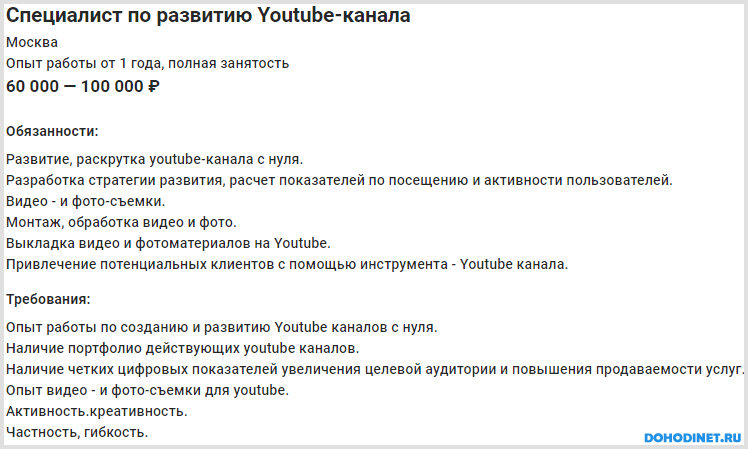 Вакансия менеджер Ютуб канала