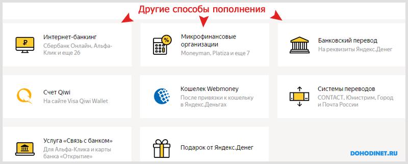 Другие способы пополнения Яндекс кошелька