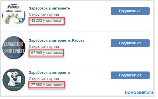 Примеры популярных групп Вконтакте