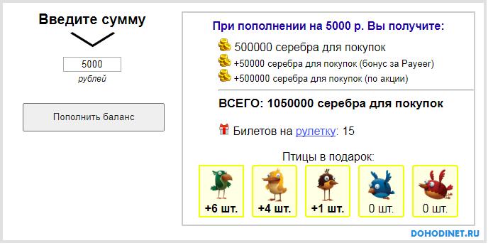 Расчет на калькуляторе при вложении 5000 рублей
