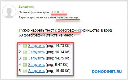 Пример объявления по набору текста с фотографии на сайте fl.ru