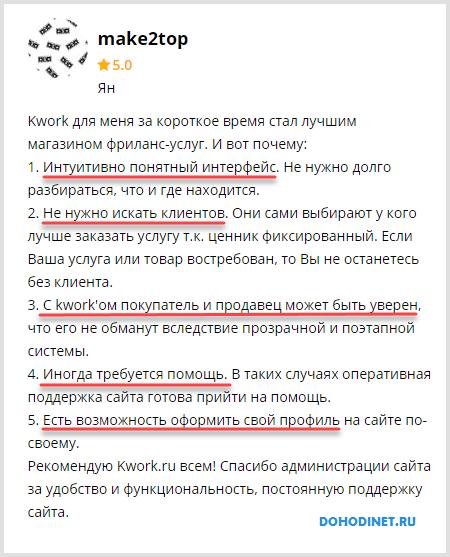 Положительный отзыв о сайте Кворк.ру