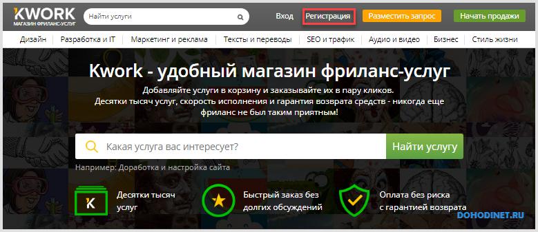 Регистрация на Kwork.ru