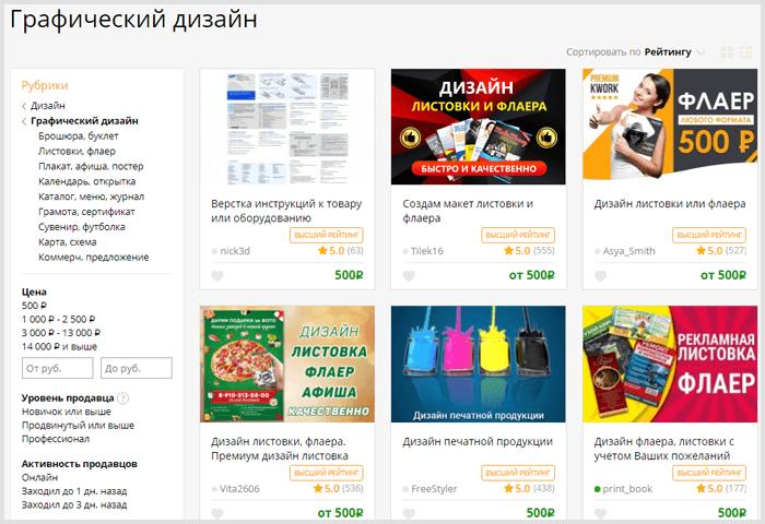 Услуги графических дизайнеров на бирже Kwork
