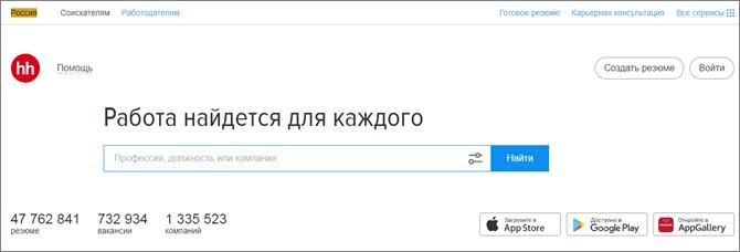 HeadHunter.ru - самый популярный сайт для поиска работы в России