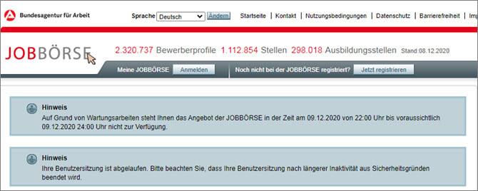 Jobboerse Arbeitsagentur - немецкий сайт по трудоустройству